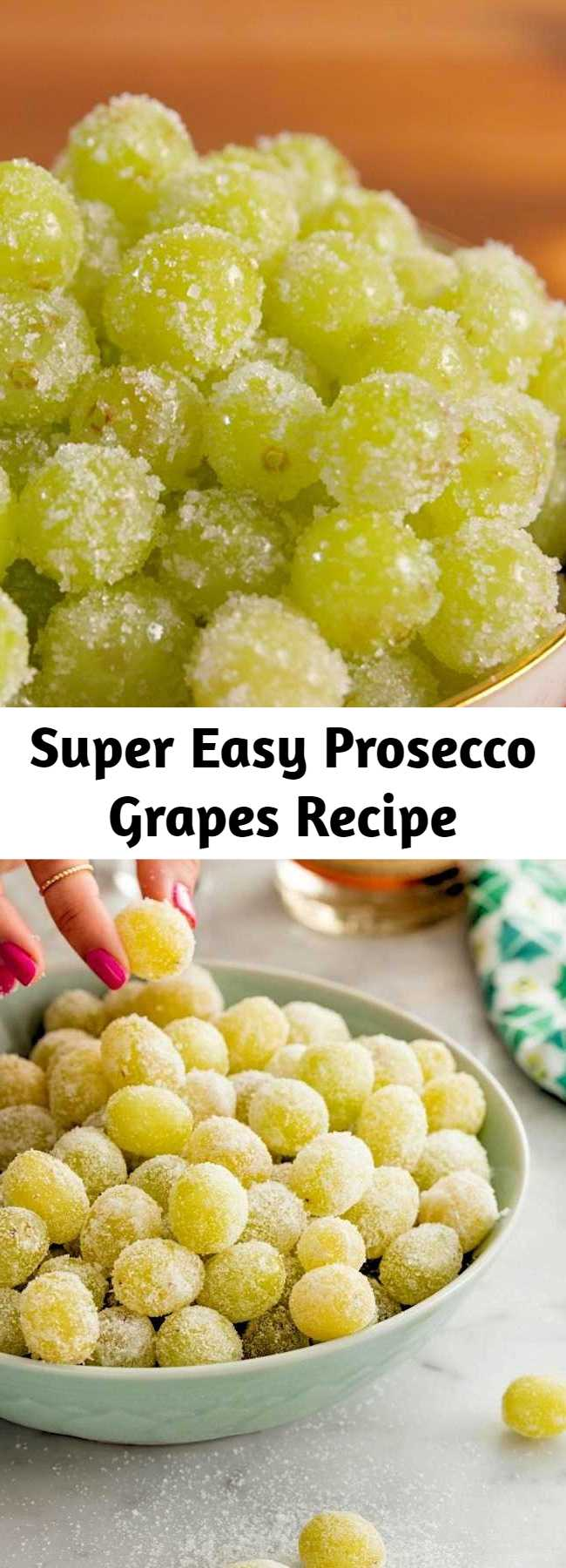 Super Easy Prosecco Grapes Recipe - These Sugared Prosecco Grapes are a super easy dessert recipe! These boozy, fun champagne soaked grapes are perfect for parties, as is or frozen! Give grapes a festive upgrade!