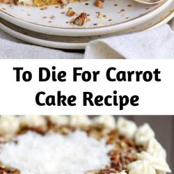 This To Die For Carrot Cake receives rave reviews for it's unbelievable moistness and flavor! Truly the BEST CARROT CAKE you'll ever try! So easy to make and as an added bonus, there's no oil or butter! I know this cake will quickly become a family favorite! #carrotcake #carrotcakerecipe #carrot #cake #recipe #best #carrotcake #pineapple #applesauce #dessert #cakes #Easter #cake #recipe #baking #sweets #carrots #pecans #creamcheese #frosting #nooil #nobutter
