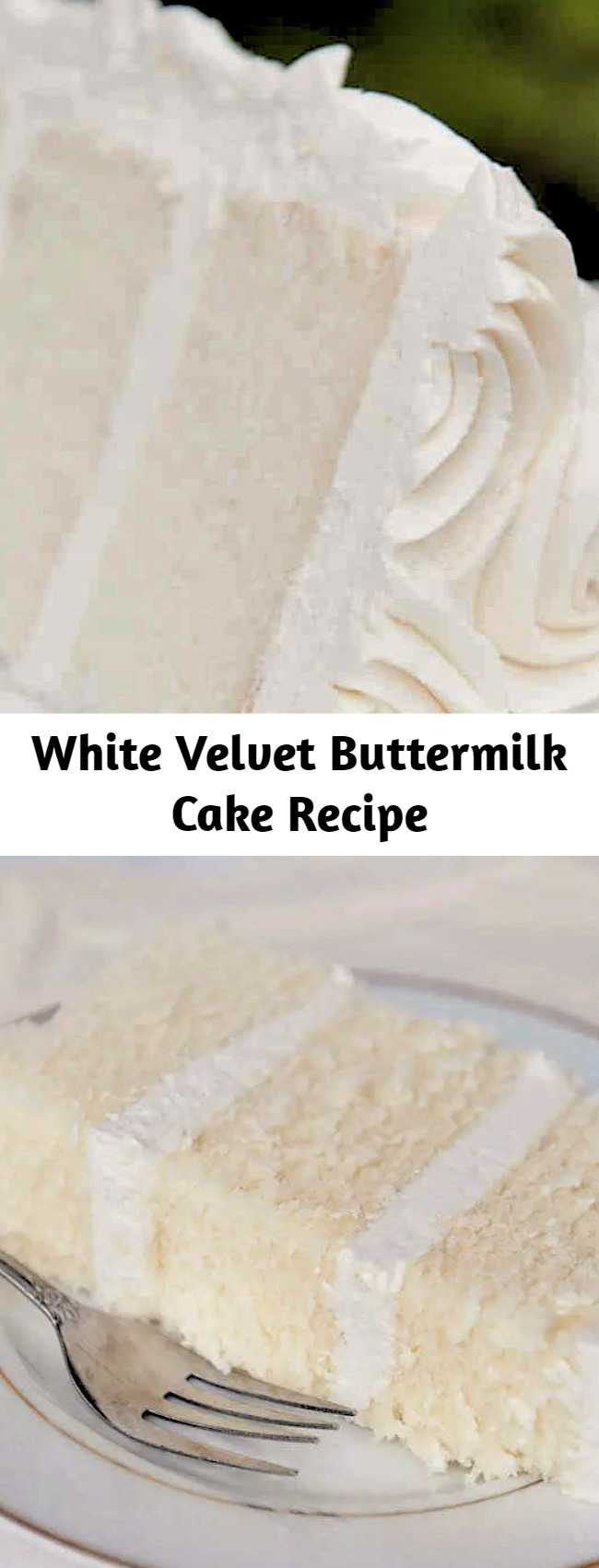 "White velvet cake gets it's flavor and velvety texture from buttermilk. A moist, tender cake that is great for any special occasion. This recipe makes two 8"" round cakes about 2"" tall. Bake at 335F for 30-35 minutes until a toothpick comes out cleanly."