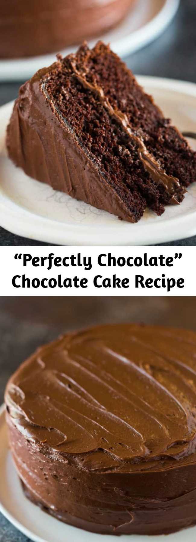 """""""Perfectly Chocolate"""" Chocolate Cake with 5 ingredient chocolate frosting is our favorite homemade chocolate cake recipe! Extra moist, with a perfect rich chocolate flavor and tender, smooth crumb."""