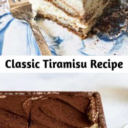 How to make Classic Tiramisu. Made with whipped egg yolks, sugar, rum, mascarpone, and whipped cream, layered with coffee-dipped ladyfingers. Great make-ahead dessert for Christmas, Thanksgiving, and holiday parties. #tiramisu #dessert #holiday #christmas
