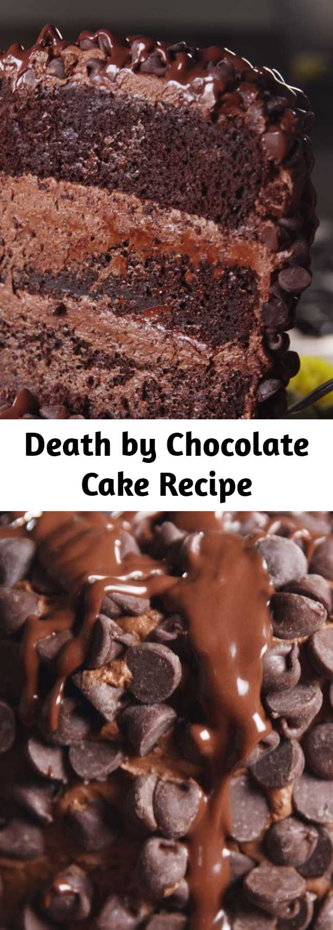 Death by chocolate cake is layers upon layers of chocolate and the ultimate chocolate dessert. The tallest and proudest cake on the block but there's no need to be intimidated. This cake is easy pull together and will be the greatest show (heart) stopper.