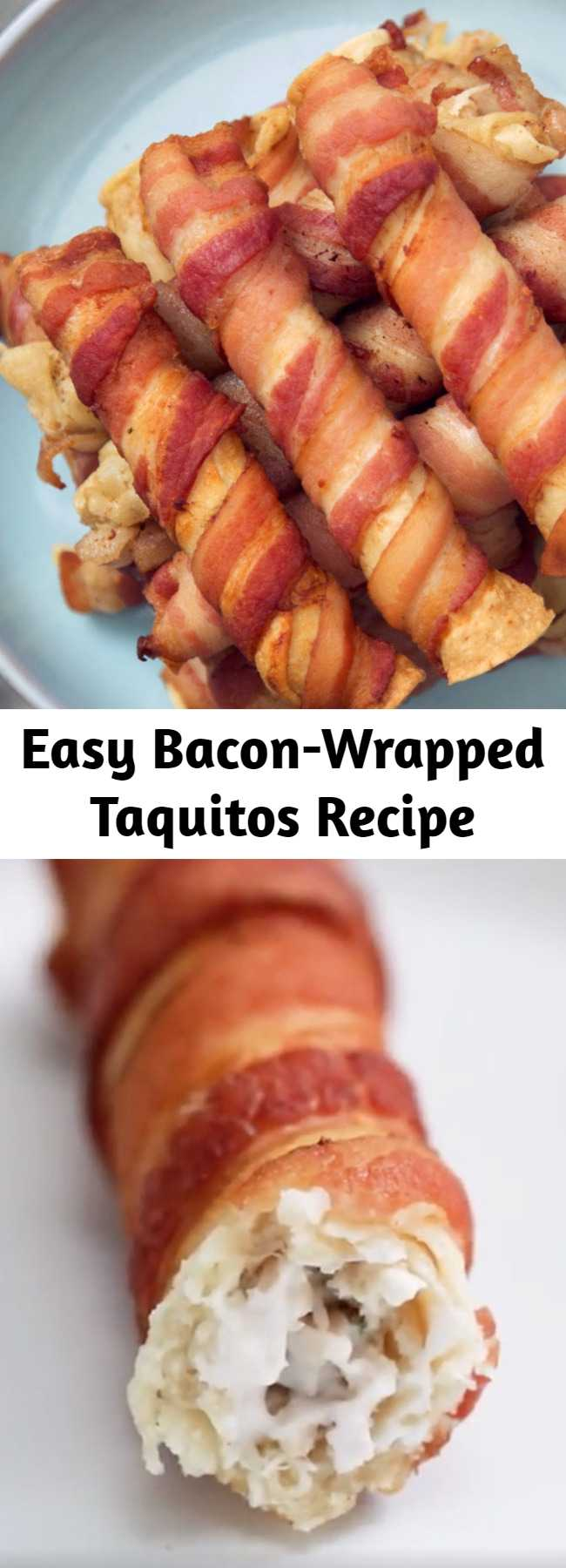 Bacon-Wrapped Taquitos Recipe - Ordinary chicken taquitos are fine, but an extra wrapping of bacon is like trying them again, for the first time.
