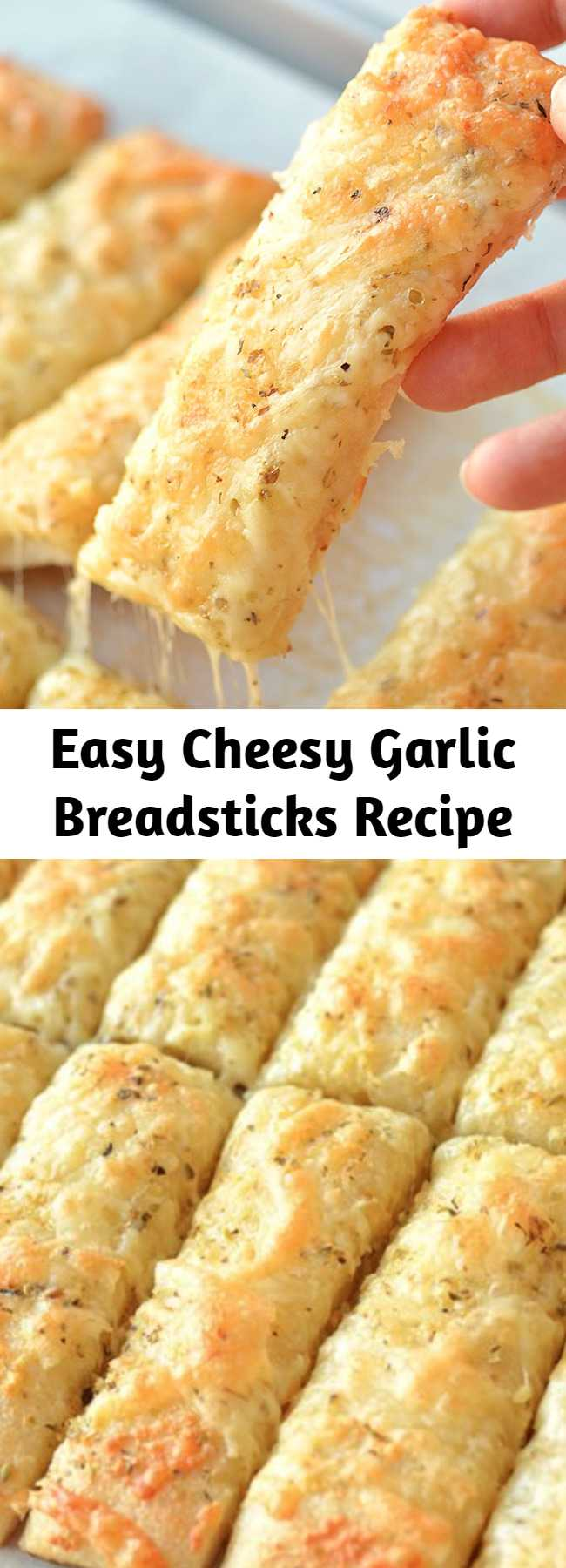 Easy Cheesy Garlic Breadsticks Recipe - These cheesy garlic breadsticks are so easy to make and they taste SO GOOD! This is such an easy, awesome and super delicious side dish recipe that uses Pillsbury refrigerated pizza crust. They take less than 20 minutes from start to finish and go really well with your favorite soups and salads.