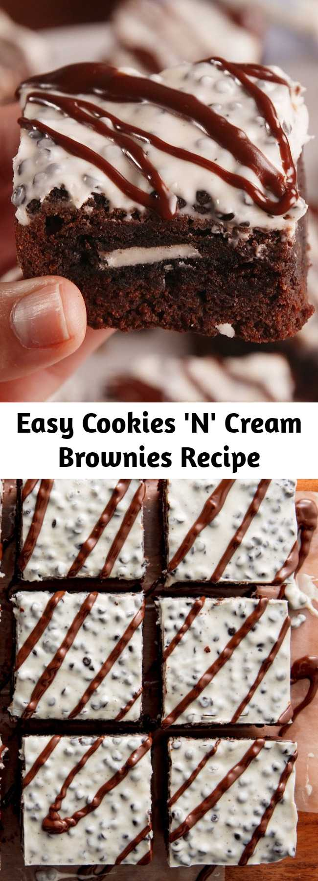 Easy Cookies 'N' Cream Brownies Recipe - Cookies 'N' Cream Brownie bars transform a boxed brownie mix into pure heaven in this recipe. These brownies give us major feels.