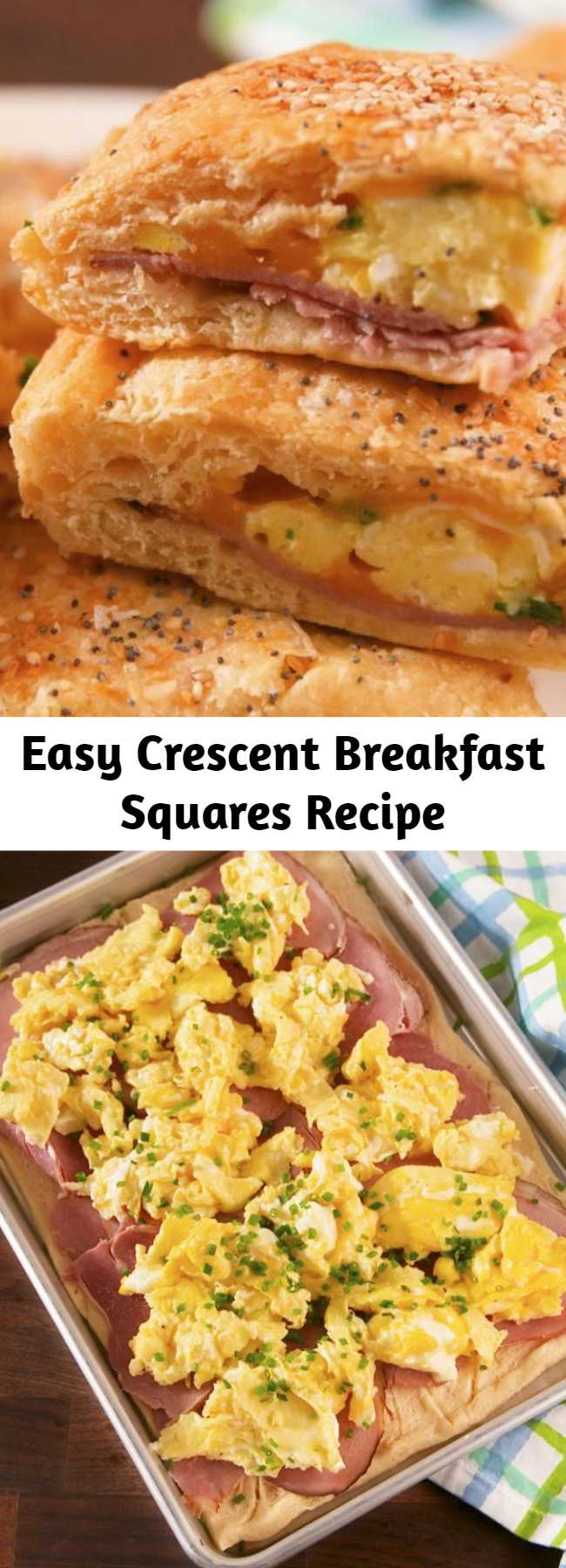 Easy Crescent Breakfast Squares Recipe - We love ourselves a good crescent dough hack, and this one is one of our faves. Look for dough you can buy as a full sheet (as opposed to the kind with perforated edges). It's not totally necessary, but it'll make things easier to assemble. #easy #recipe #eggs #cheese #crescentdough #dough #breakfast #brunch #ham #sheetpan #squares