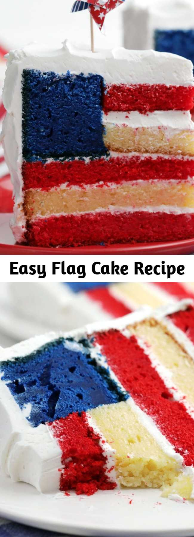 Don't be intimidated by the layers of tender red, white and blue cake though, the directions for preparing this cake are straightforward and the results are stunning. Serve up patriotism by the slice.