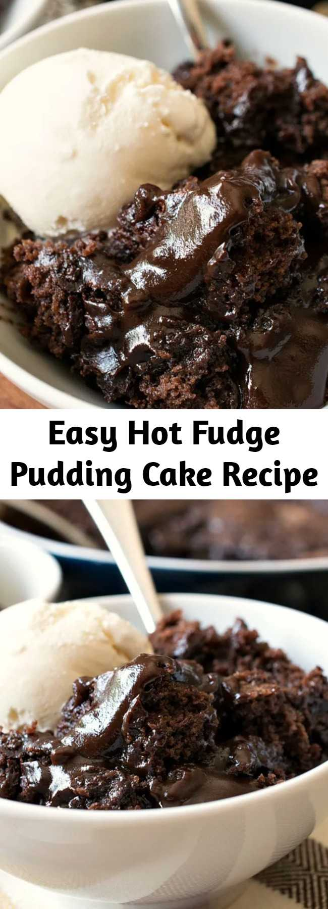 Easy Hot Fudge Pudding Cake Recipe - Hot Fudge Pudding Cake is a delicious, easy vintage recipe that everyone absolutely loves! A fudge sauce forms under a rich chocolate cake as it bakes in the oven. #puddingcake #chocolatedessert