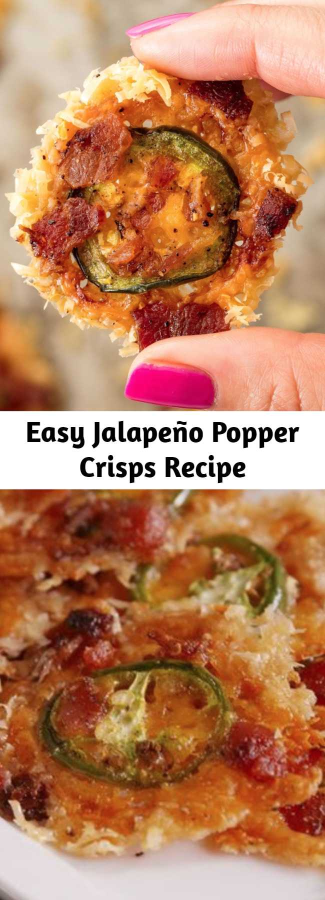 Easy Jalapeño Popper Crisps Recipe - Our three favorite flavors: spicy, cheesy, and... bacon-y. #jalapeno #easy #recipe #popper #lowcarb #healthy #jalapenopopper #cheese #bacon #glutenfree
