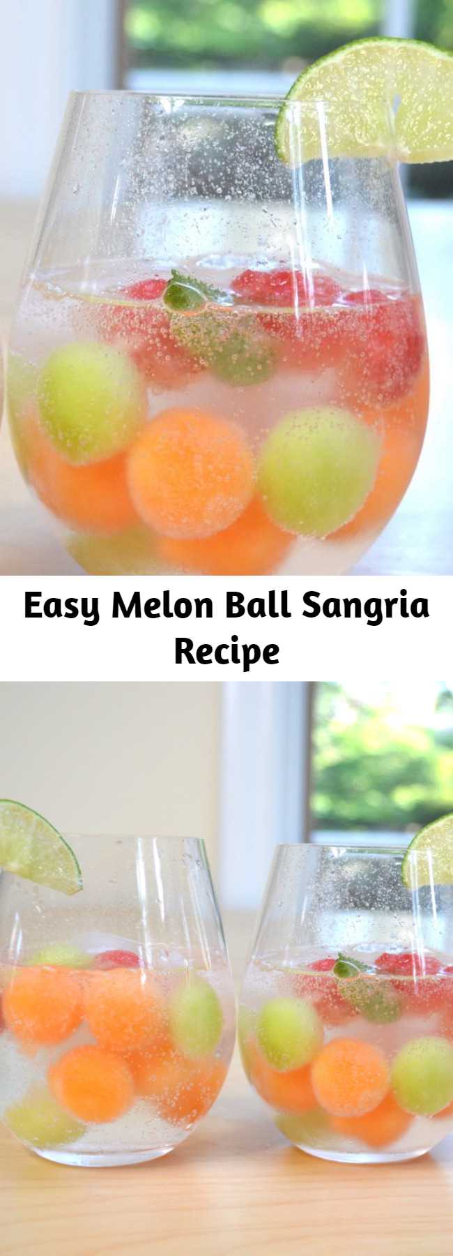 Refreshing and delicious melon ball sangria, the most beautiful sangria recipe! All you need is only a few ingredients: watermelon, cantaloupe and honeydew melons, moscato wine, sugar, lime, and sparkling water.