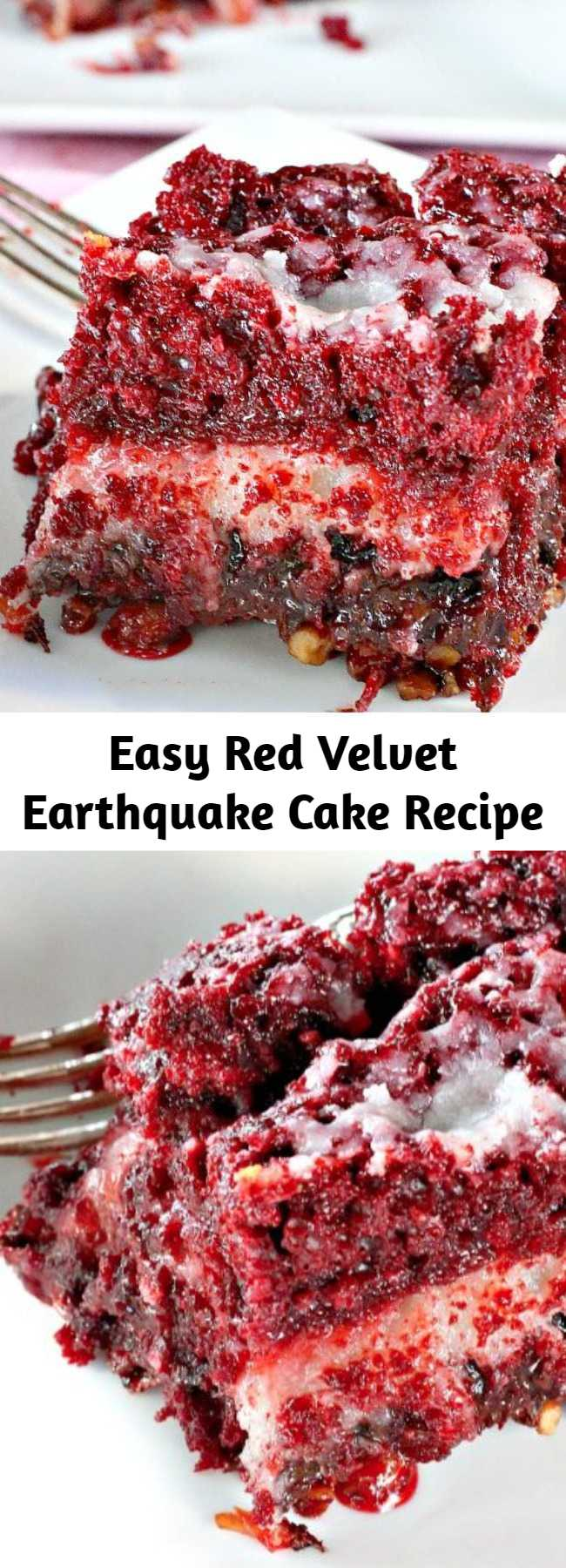 Easy Red Velvet Earthquake Cake Recipe - This delectable cake recipe calls for a Red Velvet cake batter and a cheesecake layer over top of pecans, coconut and chocolate chips. While baking the cake undergoes a seismic shift which explains its name. Fabulous for Christmas and Valentine's Day or other holiday baking.