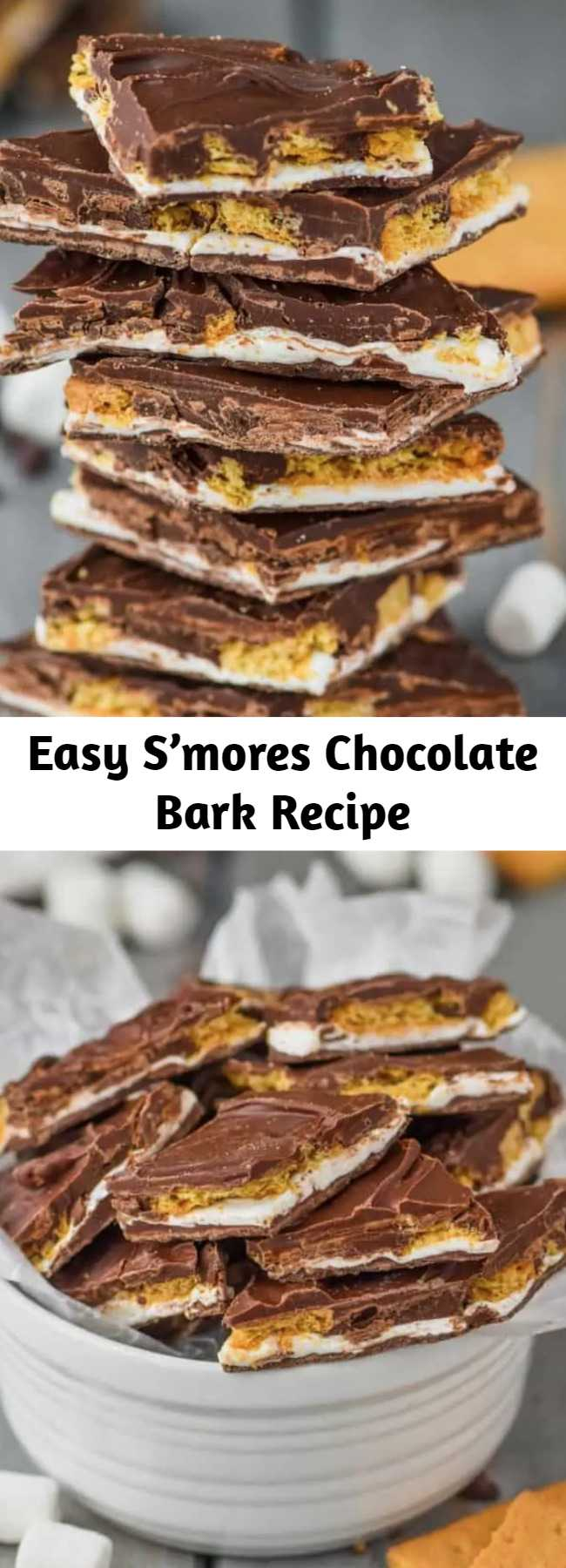 Easy S'mores Chocolate Bark Recipe - S'mores Chocolate Bark is a yummy, amazing inside out s'mores that you don't even need a camp fire for!  Chocolate Bark is my favorite thing to make because it is so easy and the possibilities are endless!