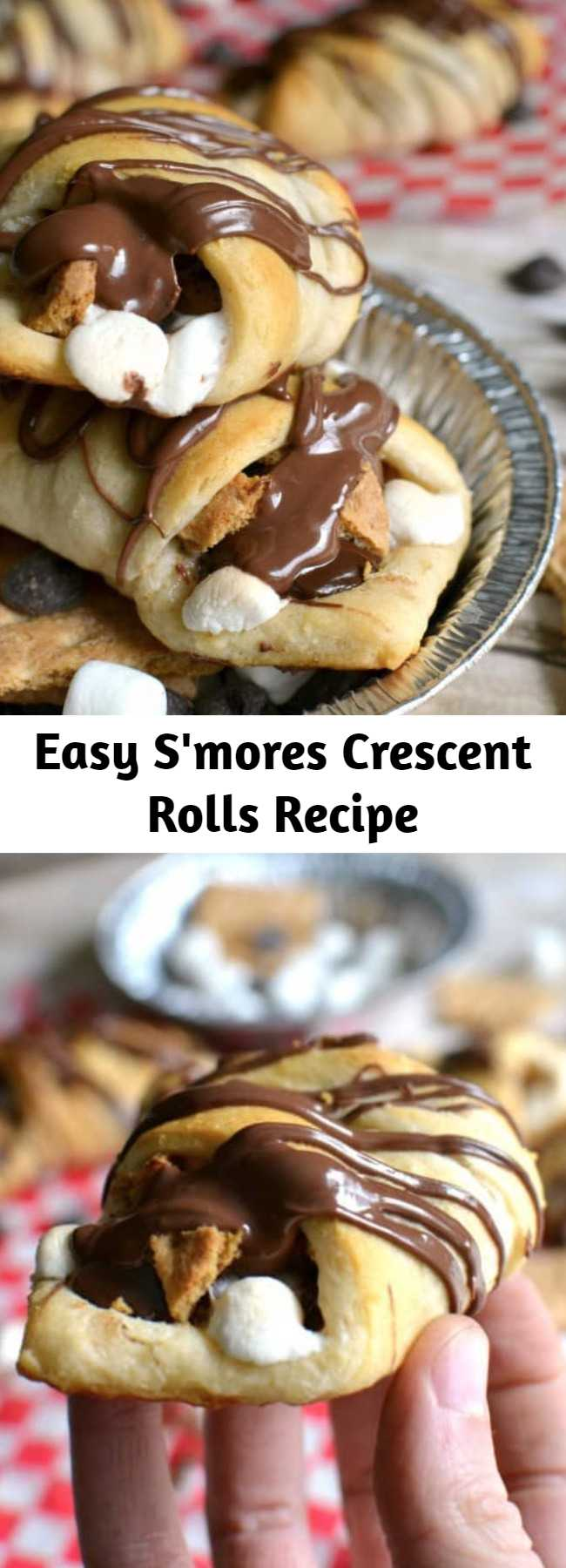 Easy S'mores Crescent Rolls Recipe - S'mores Crescent Rolls stuffed with chocolate chips, marshmallows, graham crackers and Nutella and topped with Nutella drizzle. Our favorite new way to enjoy s'mores!