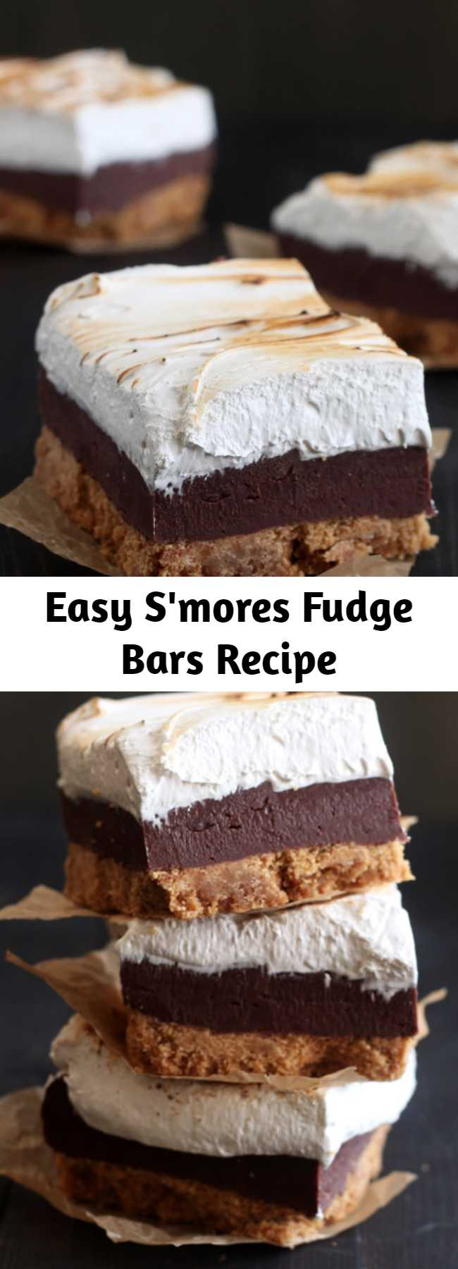 Easy S'mores Fudge Bars Recipe - S'mores Fudge Bars have a thick layer of buttery graham cracker crust, fudgy chocolate filling, and a homemade toasted marshmallow topping. Incredible! Perfect easy summer dessert recipe!
