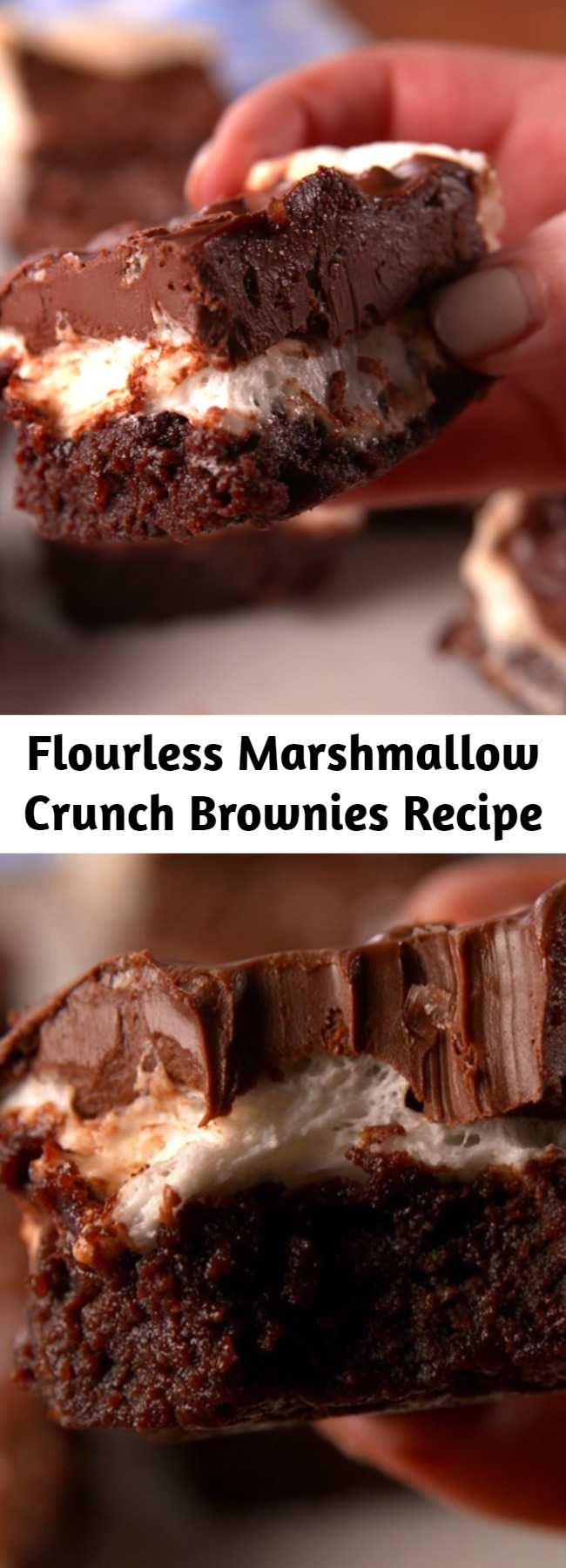 Flourless Marshmallow Crunch Brownies Recipe - Fudgy, chewy, and completely gluten-free. Super fudgy brownies topped with a layer of marshmallows and a chocolate, peanut butter and Rice Krispies mixture.