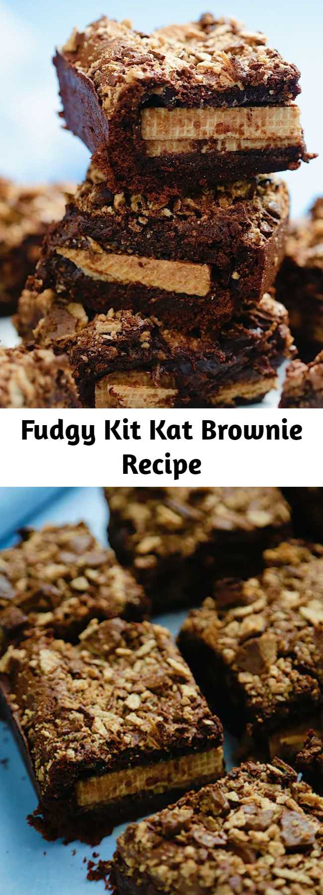 Deliciously thick and fudgy chocolate brownies that are stuffed with whole KitKats, and generously topped with broken KitKats! We added some Kit Kats and took brownies to a whole new level.