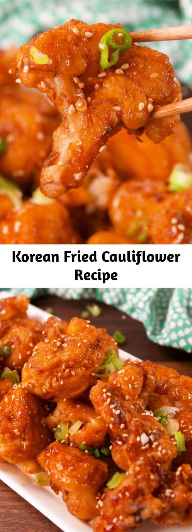 Korean Fried Cauliflower Recipe - Making your own tempura batter is what makes this dish. #food #easyrecipe #vegetarian #familydinner #dinner