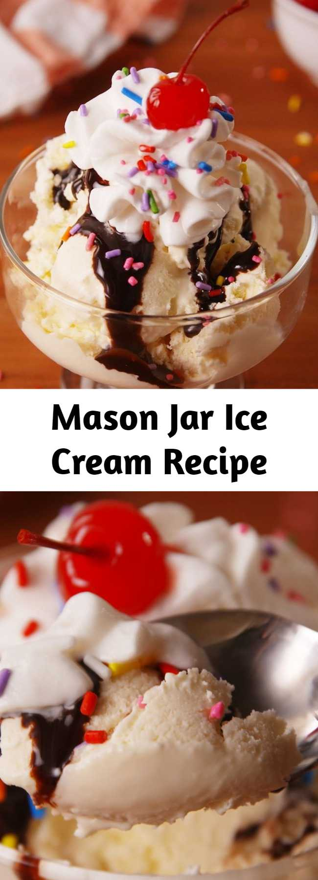 Mason Jar Ice Cream Recipe - Easy to make homemade ice cream with just 4 ingredients. No need to scream for ice cream!