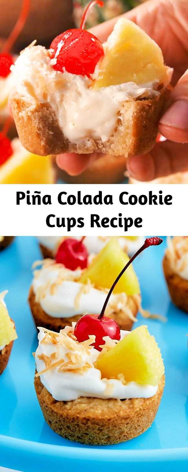 The filling tastes like a cross between a slice of cheesecake and a piña colada. If you're bringing these to a party with little ones, feel free to skip the booze.