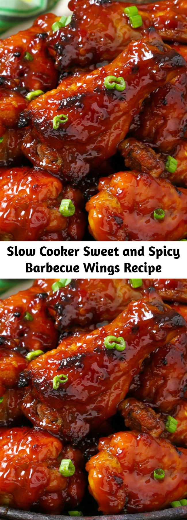 Slow Cooker Sweet and Spicy Barbecue Wings are so tender the meat falls off the bone and melts in your mouth. You get the best of both worlds with this bold barbecue sauce. Made in the crockpot you won't find an easier recipe! They just about cook themselves. #Crockpot #Appetizer