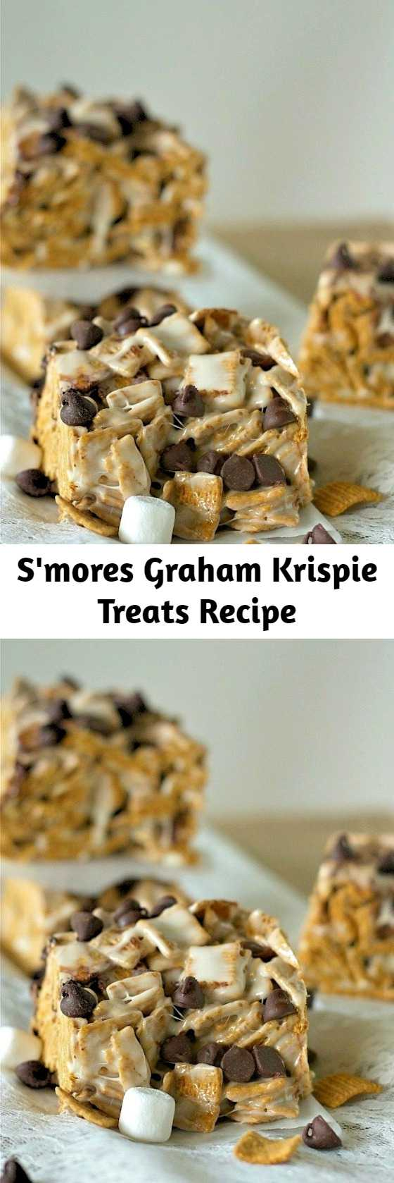 Want the taste of classic s'mores without building a campfire? These s'mores graham krispie treats come together in a flash with just a couple of ingredients! Get your summer s'mores must have in a hurry!