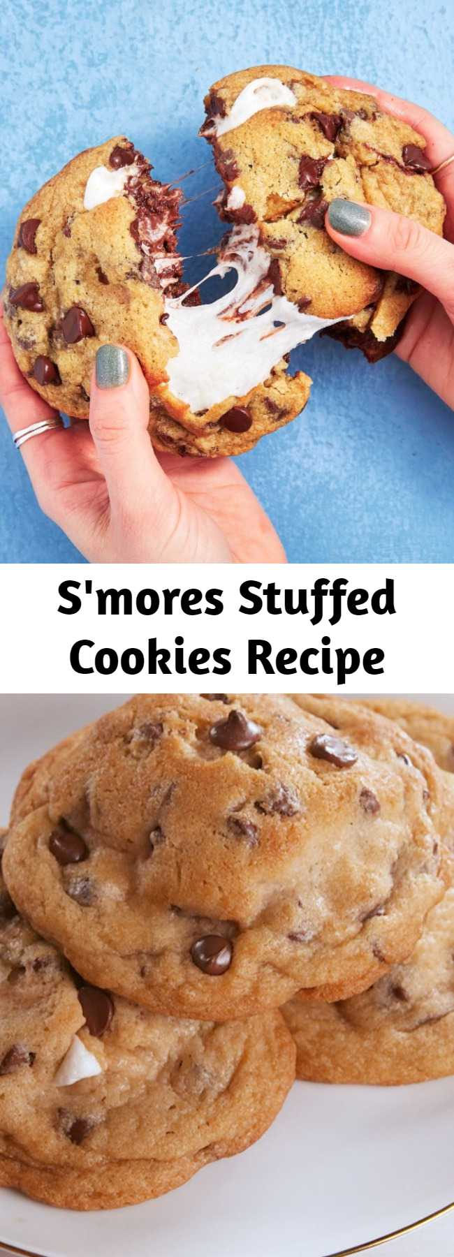 S'mores Stuffed Cookies Recipe - To insure your cookie doesn't turn into a big puddle with graham cracker poking out, refrigerate your cookies before you bake them. 10 to 15 minutes should do the trick — no longer than an hour though, or your marshmallows won't melt while baking! #easyrecipe #baking #smores #cookie #dessert