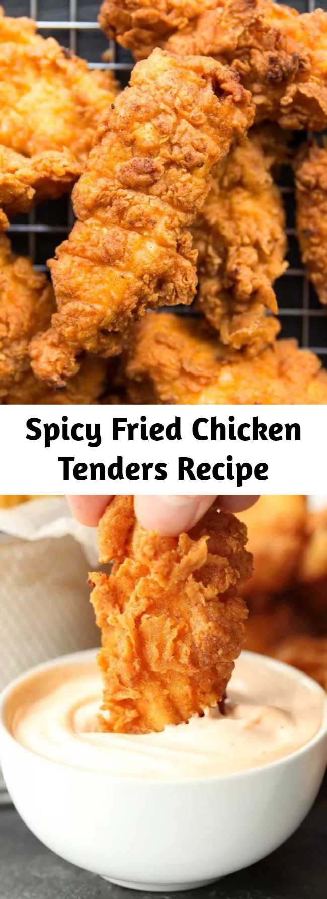These Spicy Chicken Tenders are ridiculously delicious! Chicken strips marinated in buttermilk and hot sauce, then deep fried for extra crispiness. Need I say more?! #chicken #chickentenders #chickenstrips #spicychicken #friedchicken