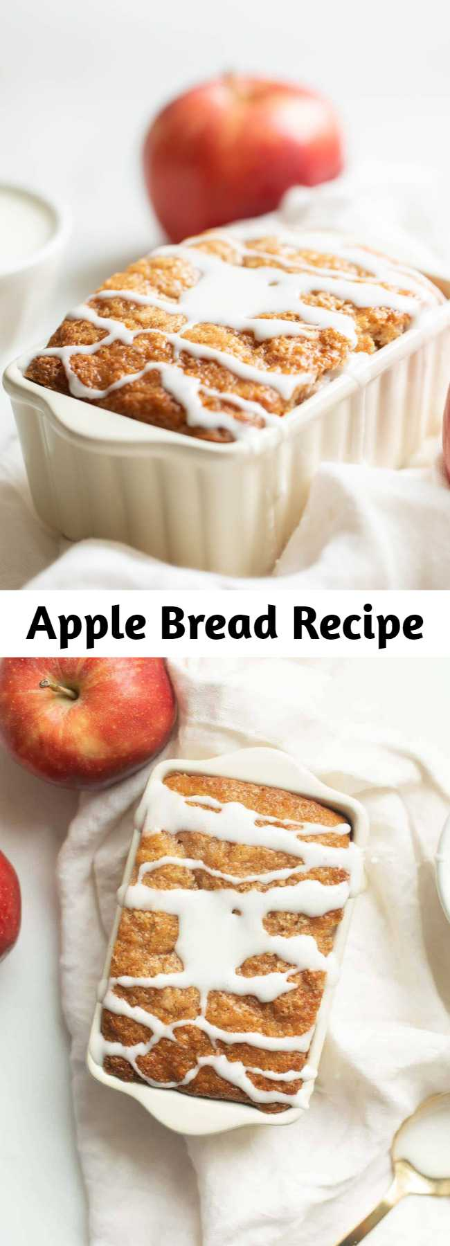 Apple Bread Recipe - This apple cinnamon bread recipe yields 6 mini loaves, making it great for both indulging and gifting! It's a foolproof no yeast quickbread that takes just 10 minutes from mixer to oven requires only staple ingredients. How is that for easy fall flavor? #applebread #sweetbread #apple #bread #applecinnamonbread #cinnamon #fall #fallrecipe