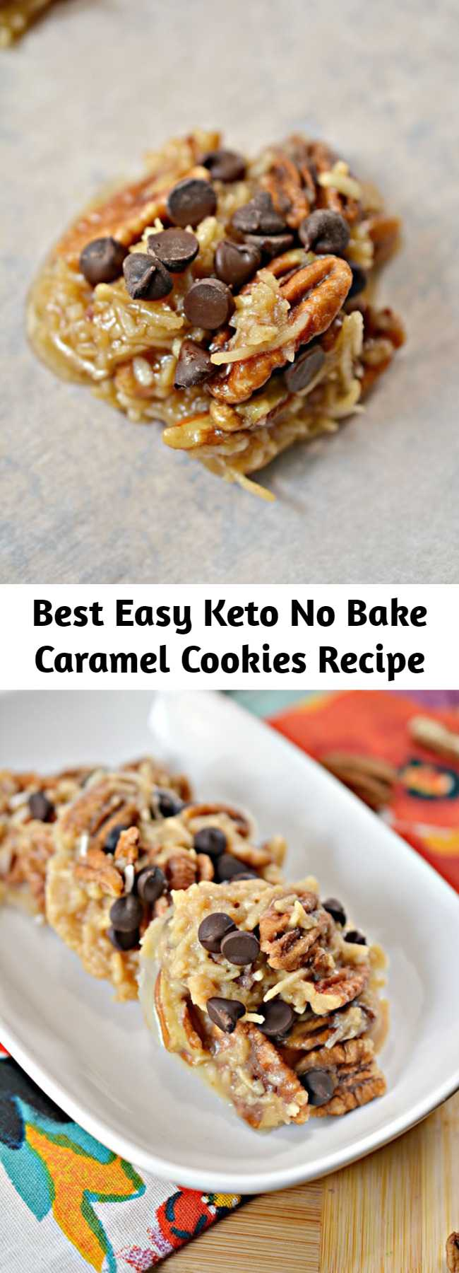 Best Easy Keto No Bake Caramel Cookies Recipe - Tasty keto NO bake cookies you CAN NOT stop eating! Super delicious keto caramel cookies. These low carb cookies are easy to make and super yummy. You can put these cookies together in a 5 minutes. #keto