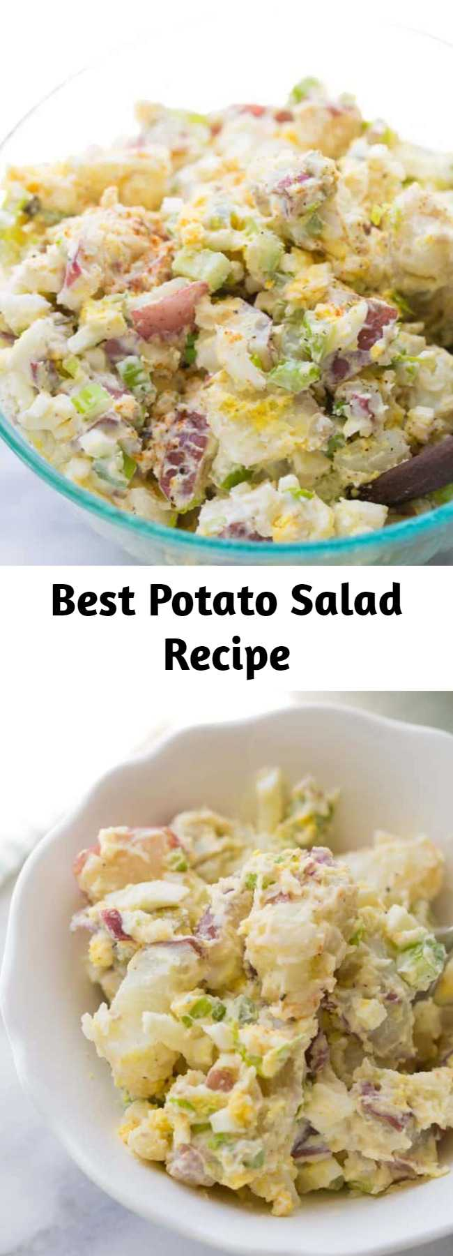 Best Potato Salad Recipe - The BEST ever potato salad! Everyone always asks for this recipe. Such a crowd-pleaser! The trick that makes this potato salad extra delicious is mixing the warm potatoes with a vinegar/salt/sugar mixture. This helps the flavor to go inside the potatoes, making this potato salad extra flavorful! #potatosalad #bbqsides #glutenfree #potatosaladrecipe #bestpotatosalad