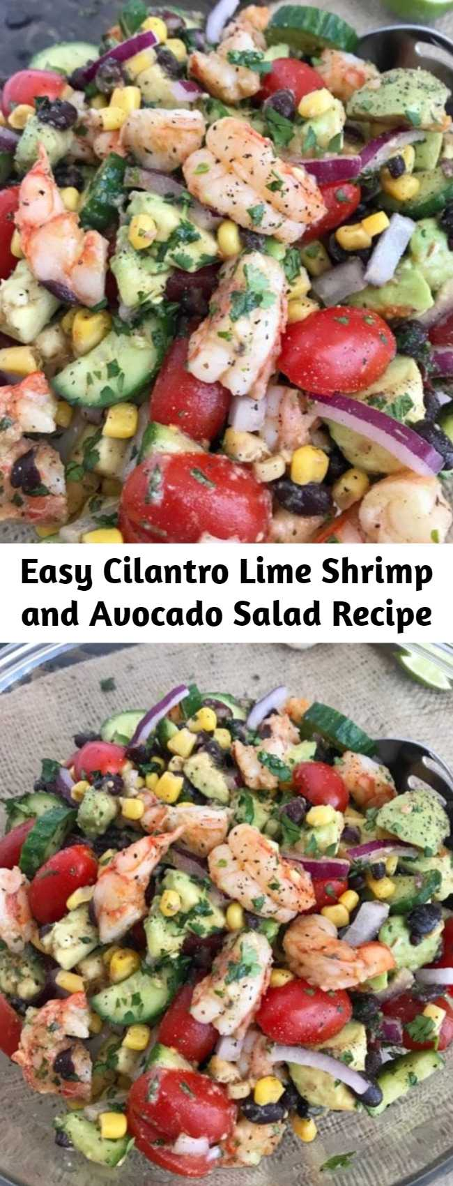 Easy Cilantro Lime Shrimp and Avocado Salad Recipe - a salad packed full of vegetables that will become a go-to meal or dish in your kitchen from the moment you try it! This salad is very easy to make, light and refreshing in flavor, and can be made in minutes. The perfect low-calorie meal or side dish if you're looking for something simple and quick. #salad #shrimp #avocado #healthy