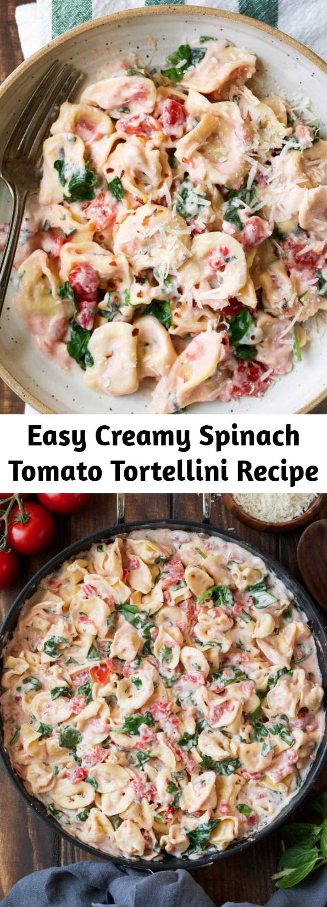 Easy Creamy Spinach Tomato Tortellini Recipe - This Creamy Spinach Tomato Tortellini is so simple and comforting plus its impressive enough to serve to guests when entertaining or to simply curl up with on the sofa. Either way, you'll love it!