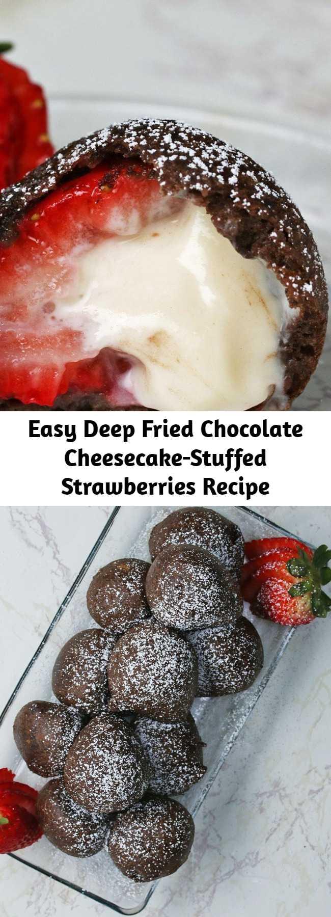Easy Deep Fried Chocolate Cheesecake-Stuffed Strawberries Recipe