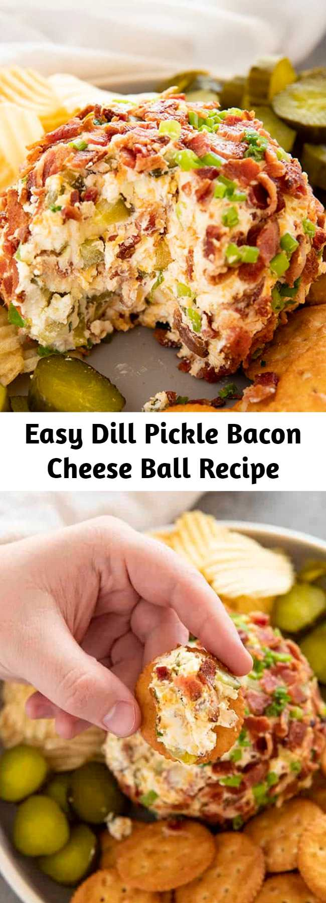 Easy Dill Pickle Bacon Cheese Ball Recipe - Dill Pickle Bacon Cheese Ball is such a fun and easy cheese ball recipe made with cream cheese, cheddar, pickles, and bacon!  The perfect appetizer for any party! #thesaltymarshmallow #tailgating #footballfood #pickles