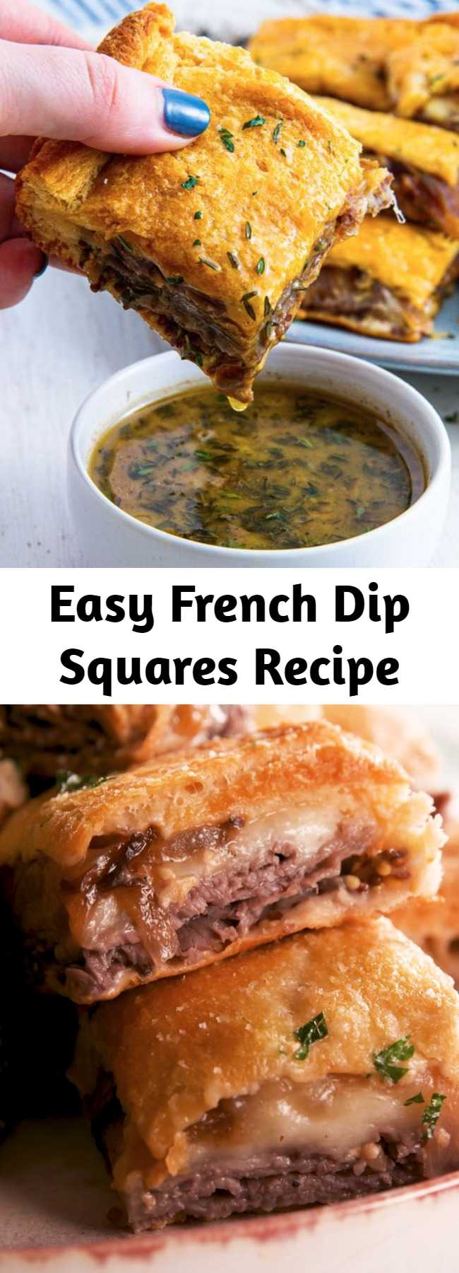 Easy French Dip Squares Recipe - Turns out you don't need fancy ingredients to make the best party appetizer ever. These easy french dip squares are loaded with complex flavors (thanks caramelized onions!) AND there's enough to feed a hungry crowd. #easy #recipe #frenchdip #bites #appetizer #entertaining #sandwich #party #oven #roastbeef #caramelizedonions