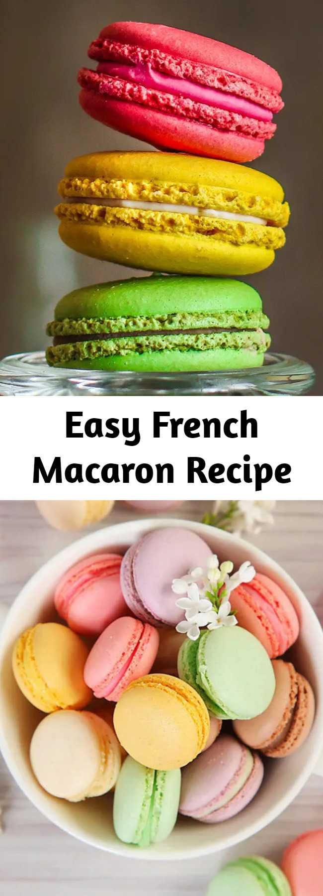 Easy French Macaron Recipe - This is an easy how to make crispy, crunchy, chewy french macarons (pronounced mac-ah-rohn). I make a big batch of these and then freeze them so I have some on hand for these trendy cream tarts!