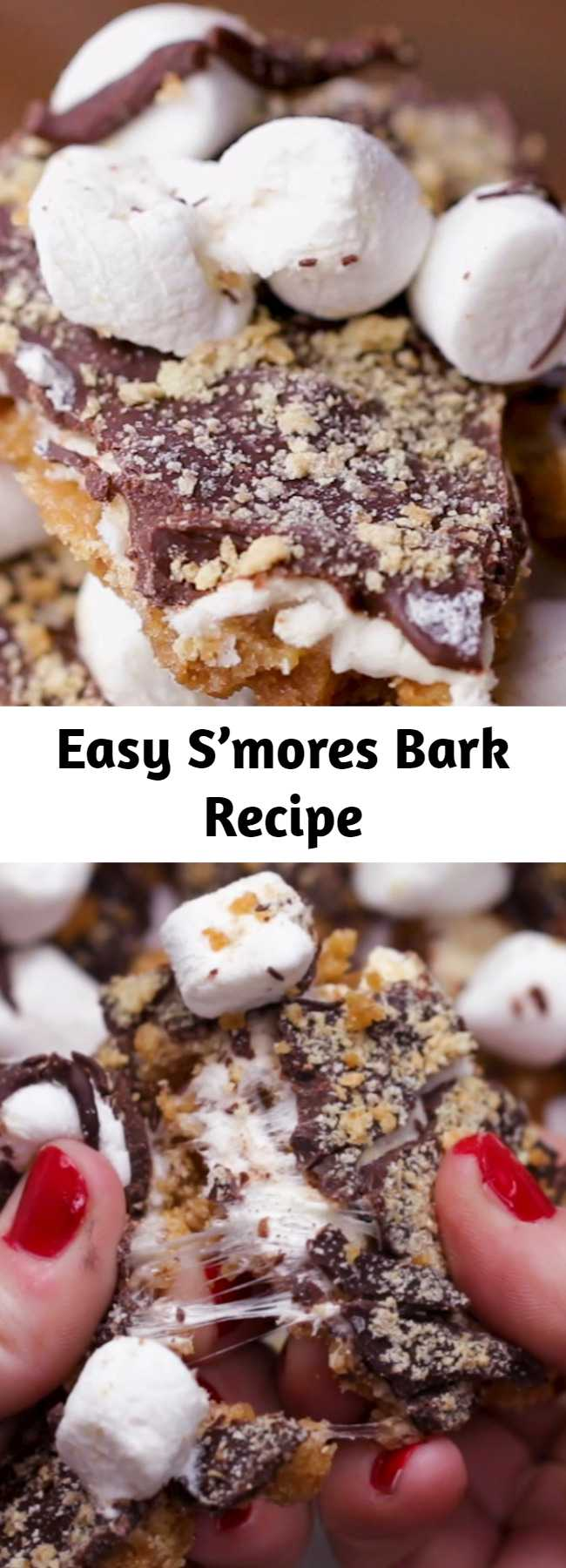 Easy S'mores Bark Recipe - This was a huge hit! It's an great gif! You can really personalize it with crushed nuts or drizzled chocolate on top.
