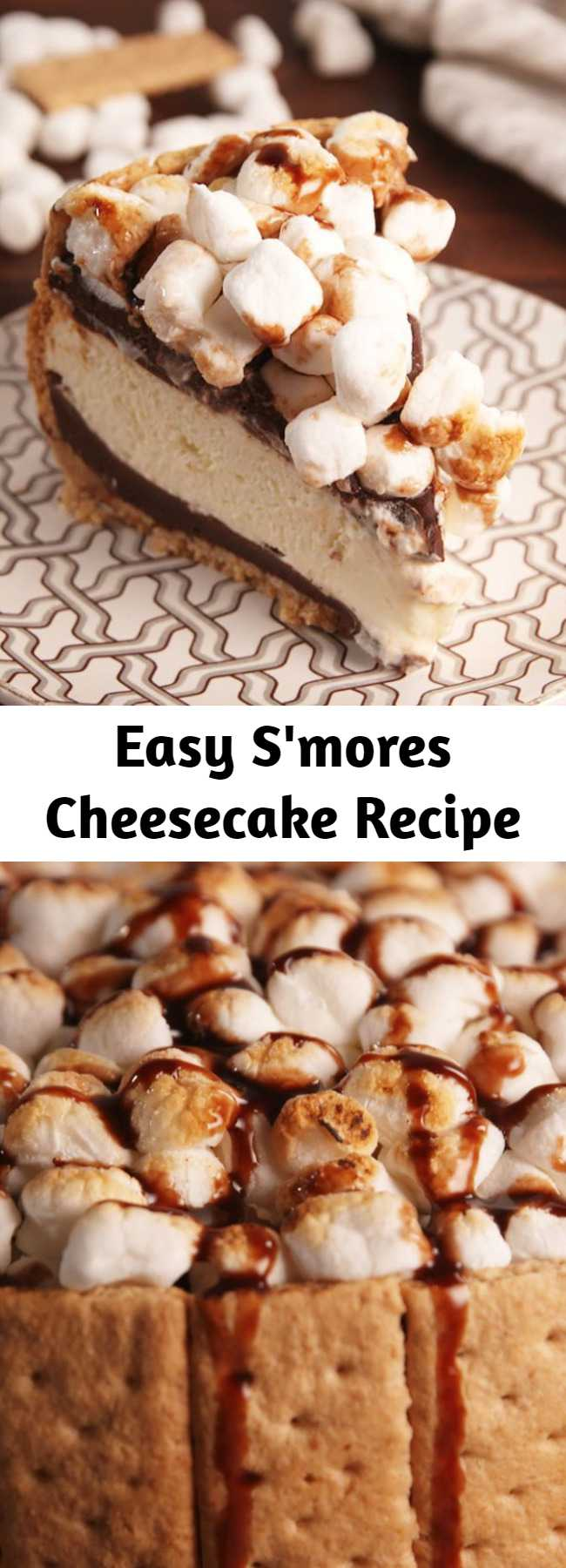 Easy S'mores Cheesecake Recipe - S'mores make everything better, even cheesecake. Take the camping party indoors with this s'mores cheesecake.