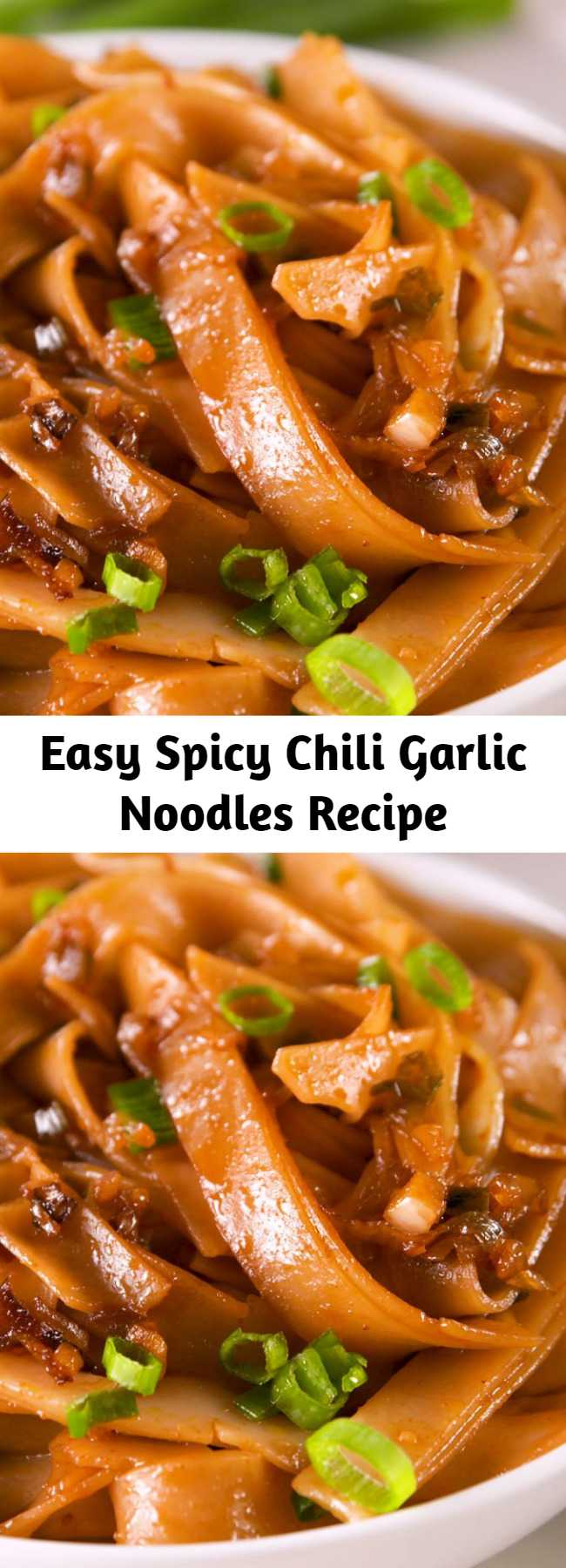 Easy Spicy Chili Garlic Noodles Recipe - The sauce for these noodles come together in less time than it takes your pasta water to boil. This dish is easy, fast, and spicy. Adjust the chili garlic sauce as you like, but we love the sweet heat of this dish as is. Prepare yourselves. #easyrecipe #food #noodles #asian #pasta