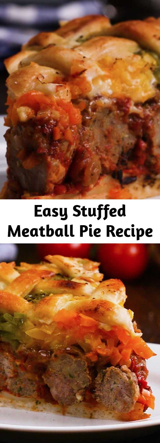 Easy Stuffed Meatball Pie Recipe - This was really tasty and easy to make. Every meatball-lover will adore this Stuffed Meatball Pie.