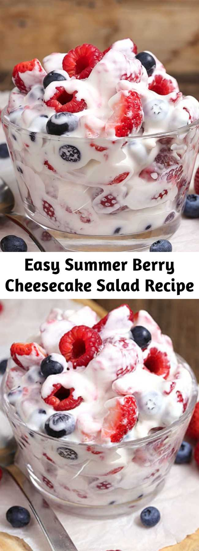 Easy Summer Berry Cheesecake Salad Recipe - This simple Summer Berry Cheesecake Salad recipe comes together with just 5 ingredients. Rich and creamy cheesecake filling is folded into your favorite berries to create the most amazing fruit salad ever! Your family will go nuts over it. #summer