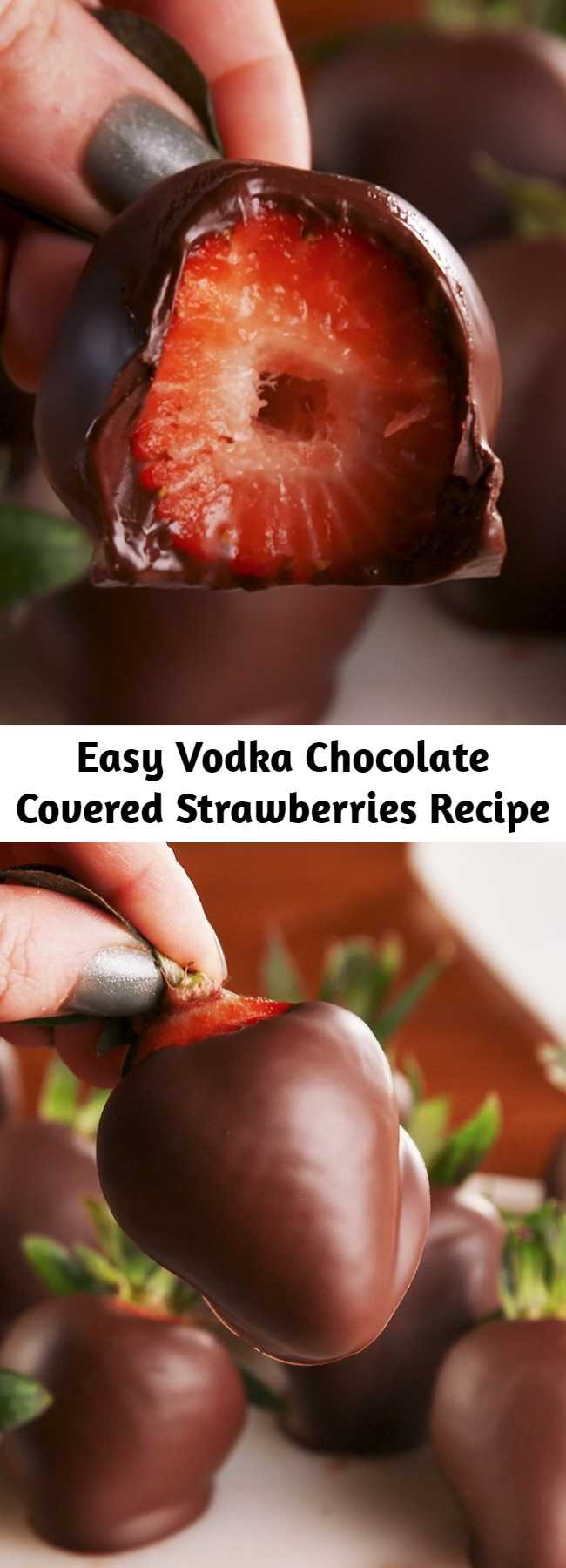 Easy Vodka Chocolate Covered Strawberries Recipe - Soaking your strawberries in vodka is the best gift you can give yourself. #easy #recipe #vodka #chocolate #strawberries #alcohol #adults #valentines #valentinesday #galentines #party #ideas #cute