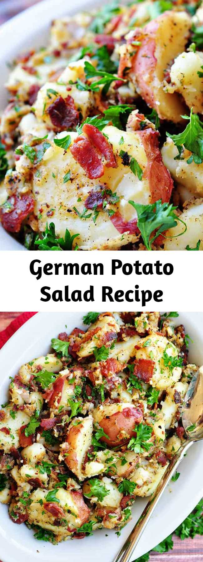 German Potato Salad Recipe - THE BEST German Potato Salad is a warm potato salad recipe featuring tender red potatoes and bacon in a tangy dressing for the ultimate summer side dish!