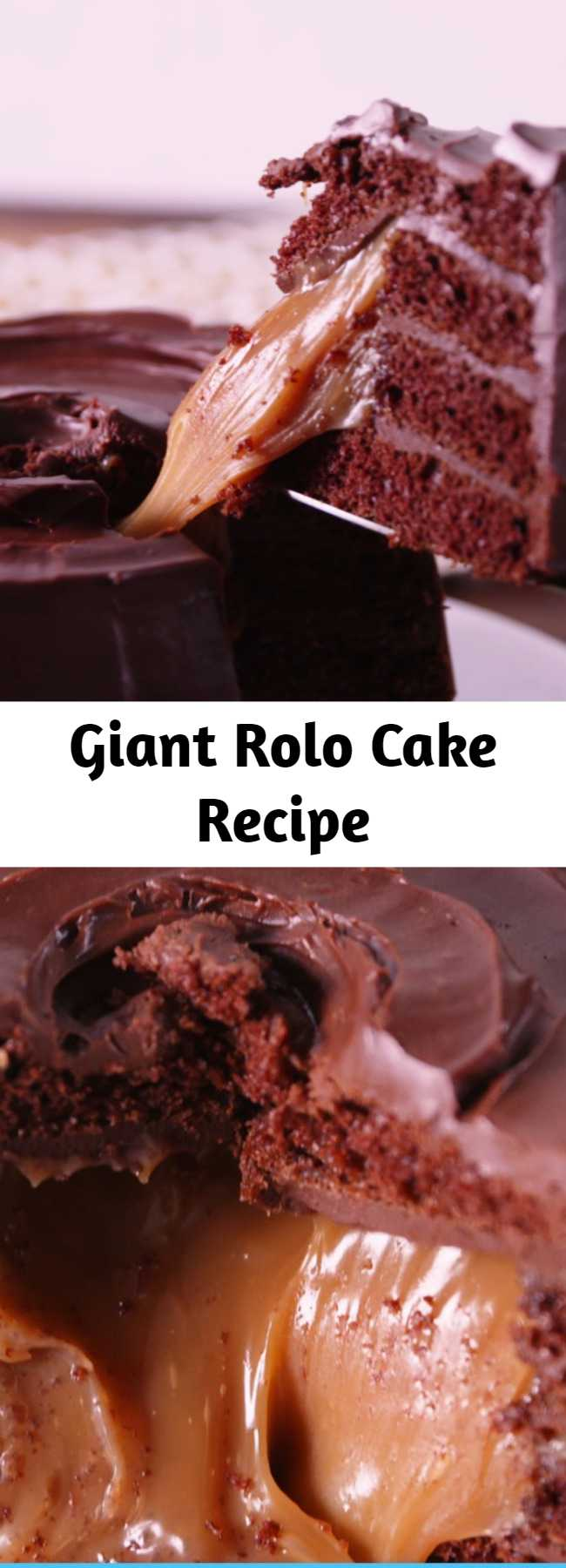 Giant Rolo Cake Recipe - Rolo lovers, try not to freak out when you see this cake.