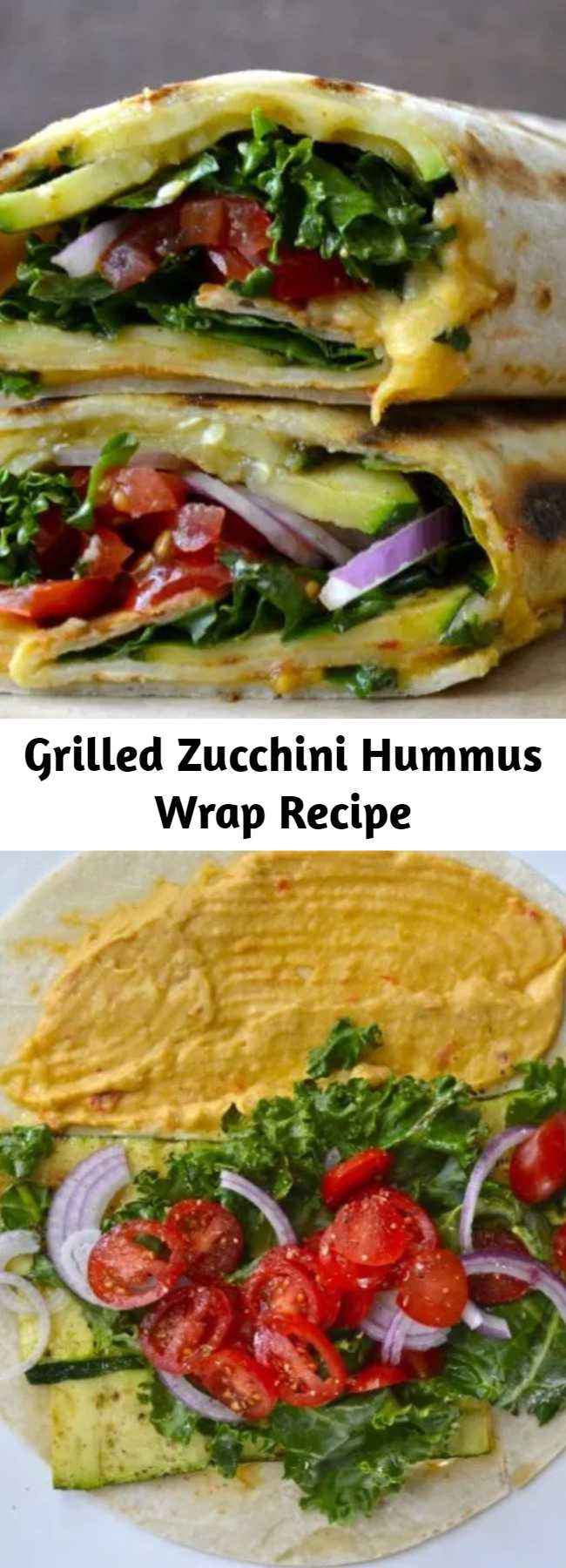Grilled Zucchini Hummus Wrap Recipe - Fresh veggies are grilled to perfection and packed in this Grilled Zucchini Hummus Wrap! This is the perfect easy, healthy wrap recipe!