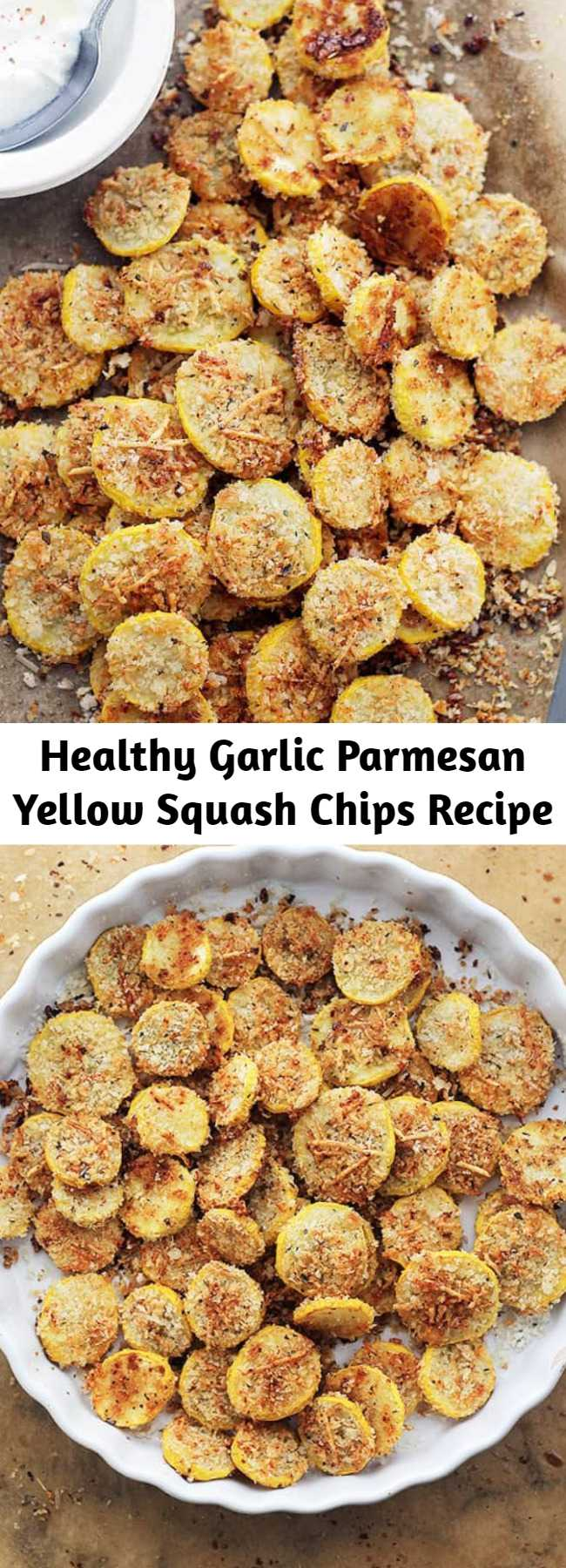 Healthy Garlic Parmesan Yellow Squash Chips Recipe - A healthy snack or appetizer that is incredibly flavorful, crispy, and absolutely delicious! These are BEYOND amazing!