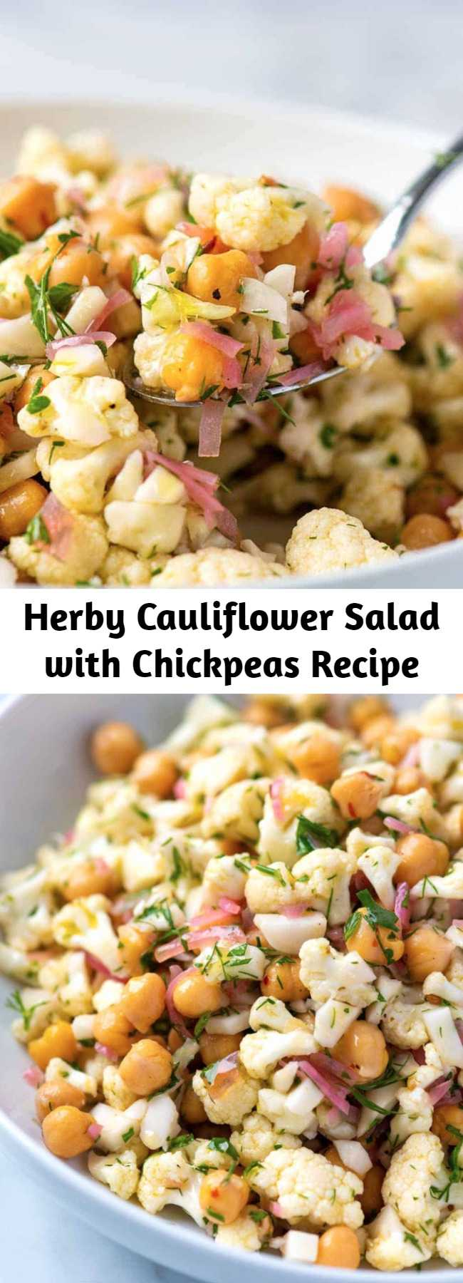 Herby Cauliflower Salad with Chickpeas Recipe - hanks to a light lemony dressing and lots of fresh herbs, this simple raw cauliflower salad recipe tastes surprisingly delicious and lasts in the fridge for days. The pickled onions are an optional ingredient, but they do take the salad to the next level.