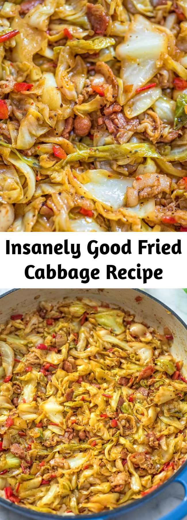 Insanely Good Fried Cabbage Recipe - This Fried Cabbage recipe is insanely good! Made with bacon, onion, bell pepper, and a touch of hot sauce, it is easy to make, simple, and comes out perfect every time! #cabbage #dinner #thanksgiving #winter #bacon