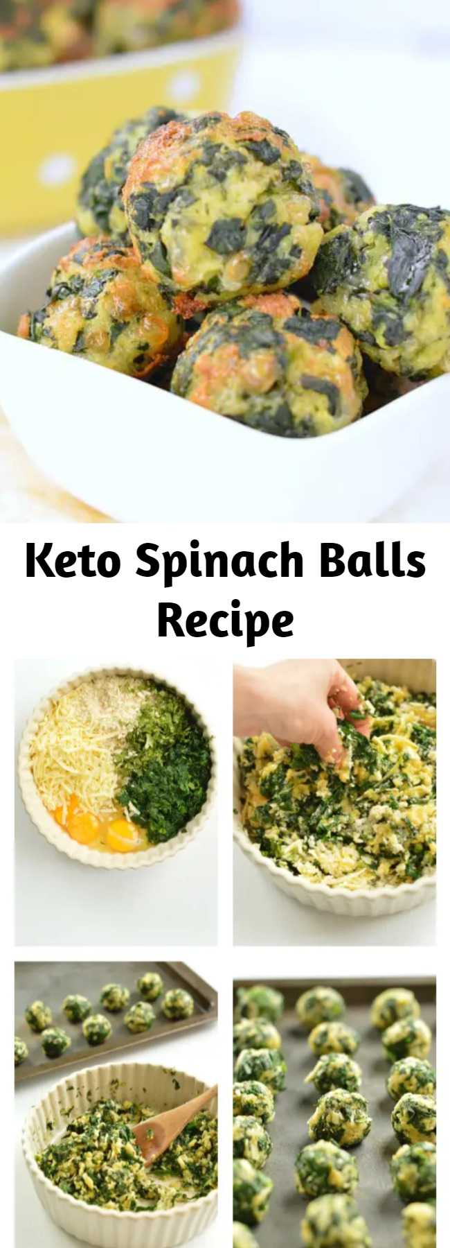 Keto Spinach Balls Recipe - These spinach balls are the best keto appetizer with a delicious cheesy chewy texture and spinach garlic flavor. Plus, the recipe is gluten-free so all your friends can enjoy them! #ketoappetizer #keto #spinachballs #spinach #thanksgiving #snack #lowcarb #almondflour #glutenfree #ketorecipes