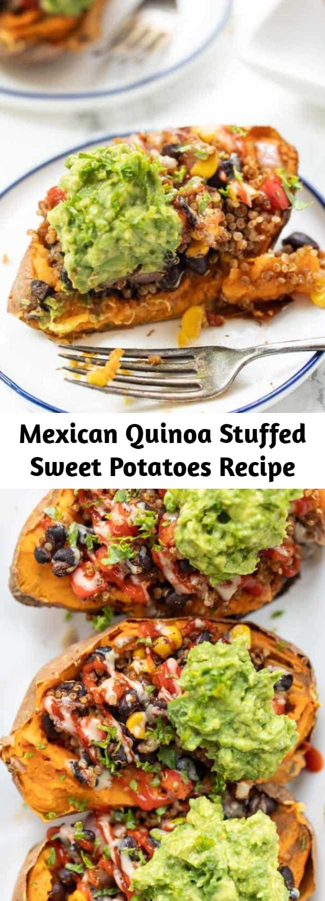 Mexican Quinoa Stuffed Sweet Potatoes Recipe - These Mexican Quinoa STUFFED Sweet Potatoes are the ultimate plant-based meal! Packed with fiber and protein, they're filling, tasty and easy to make! Easy, healthy and so delicious. Stuffed with black beans, quinoa, guacamole, and more healthy ingredients! #stuffedsweetpotatoes #mexicanquinoa #quinoa #quinoarecipe #vegandinner